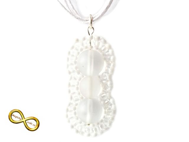 834cae8c6 Náhrdelník korálkový bílý